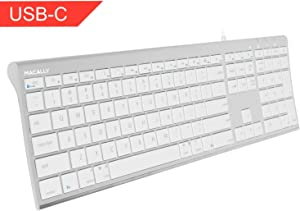 Wired USB-C Keyboard, Macally Ultra-Slim USB Type C Keyboard for Apple MacBook Pro/Air Laptops, iMac Pro Desktop Computers, iPad, Chromebook Notebook - Plug and Play - No Drivers (Aluminum Silver)