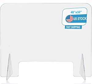 """Plexiglass Barrier Acrylic Sneeze Guard for Counter Protective Freestanding Clear Plastic Desk Shield Divider for Office and Stores with Transaction Window48""""W x 32""""H"""