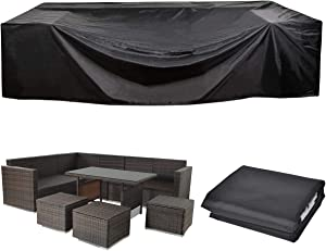 """UXUNBlue Outdoor Patio Furniture Covers 210D Oxford Polyester Black Large Size Rectangular Sectional Furniture Set Covers Fits to 12Seats Sofa Cover 110""""L Waterproof 