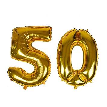 Globo con número 50 de lámina dorada gigante de 40 pulgadas ...