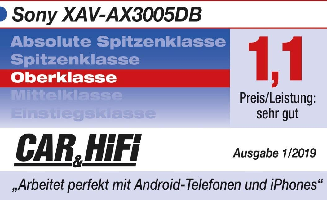 Sony XAV-AX3005 Premium Media Receiver 6,95 Zoll, DAB+, Bluetooth, Apple CarPlay, Android Auto