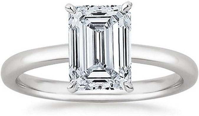 1 Carat Emerald Cut Solitaire Diamond Engagement Ring J Color Vs1 Clarity Center Stones Amazon Com