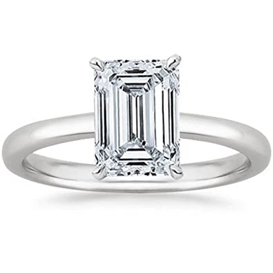 5722cbcda 1/2 - 2 Carat GIA Certified 14K White Gold Solitaire Emerald Cut Diamond  Engagement Ring (D-E Color, VS1-VS2 Clarity)