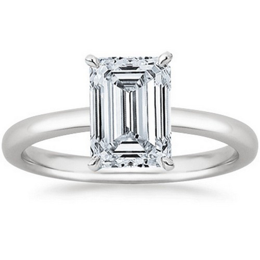 GIA Certified 14K White Gold Emerald Cut Solitaire Diamond Engagement Ring (1 Carat E Color VVS2 Clarity)