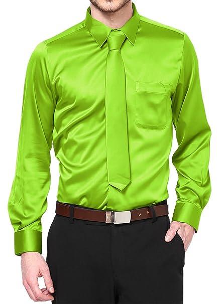 Amazon.com: Apple verde satén vestido camisa con cuello ...