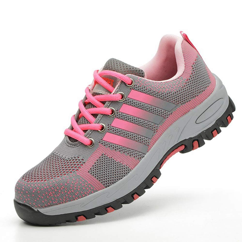 CVAYU Women's Steel Toe Safety Work Shoes Slip Resistant Protect Shoes,Work Sneakers Lightweight Breathable Industrial Construction Safety Shoes (8 Women / 6.5 Men, Pink/A) by CVAYU