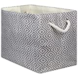 "DII Oversize Woven Paper Storage Basket or Bin, Collapsible & Convenient Home Organization Solution for Office, Bedroom, Closet, Toys, Laundry (Medium - 15x10x12""), Gray & White Diamond Basketweave"