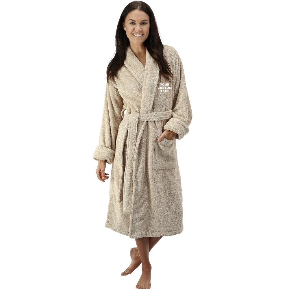 Unisex Personalised Bathrobe with Your Custom Text Embroidery on Terry  Towel 100% Cotton Terry Towel Bathrobes 17539bbff