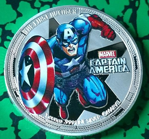 - Captain America Superhero Colorized Silver Plated Challenge Art Coin Replica - Not Mint Issued