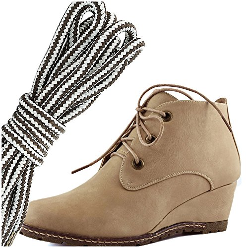 DailyShoes Womens Fashion Lace Up Round Toe Ankle High Oxford Wedge Bootie, Dark Brown Grey Beige Pu