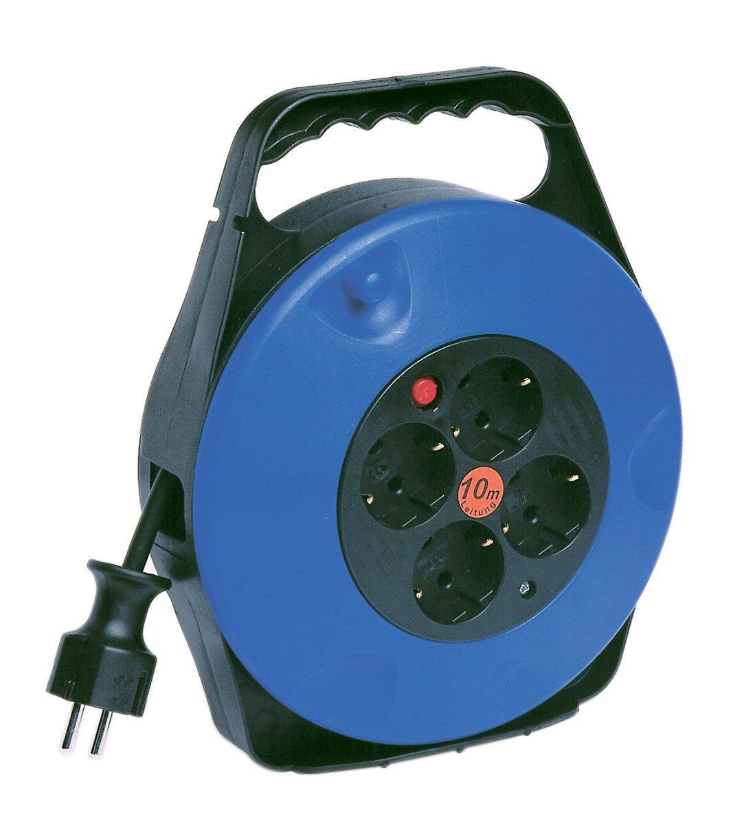 REV Ritter 00881821 Enrouleur de c/âble avec 4 prises et c/âble 3G1,5 Bleu//noir 10 m
