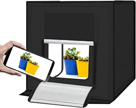 Portable Foldable Photo Studio Box with LED Light for Professional Photography,Super Bright Dimmable LED Lighting 5500k 40x40x40cm