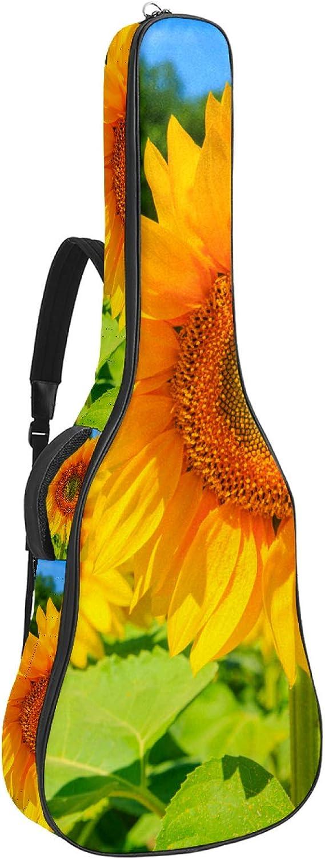 Bolsa de guitarra reforzada con esponja gruesa demasiado acolchada, funda para guitarra, cuna para el cuello, gancho trasero para guitarra acústica clásica, campo de flores