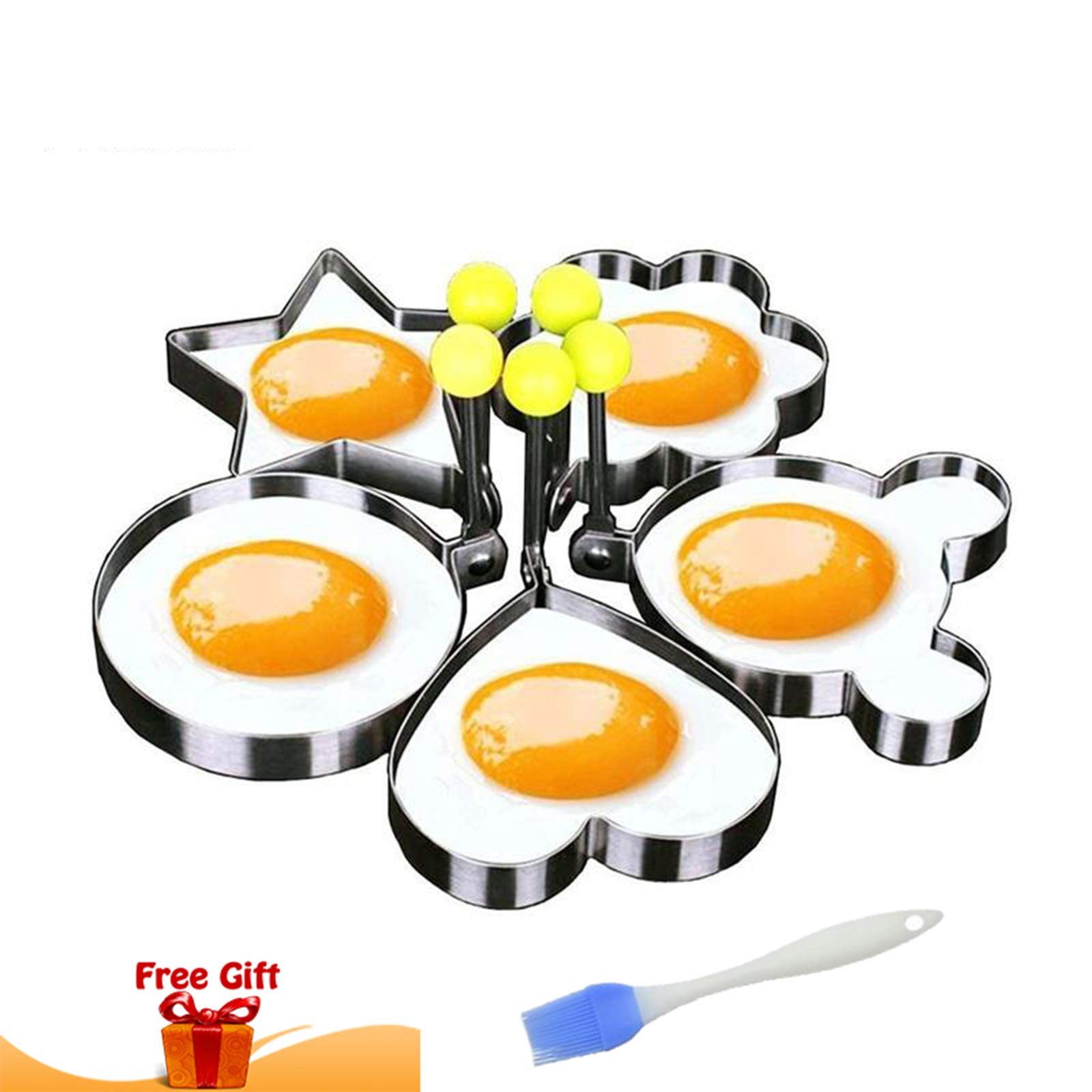 Fried Egg Ring Mold Pancake Cooker - Breakfast Sandwich Perfect for frying fun egg shaper Non stick Stainless Steel 5PCS set within a FREE GIFT Silicone Pastry Brush