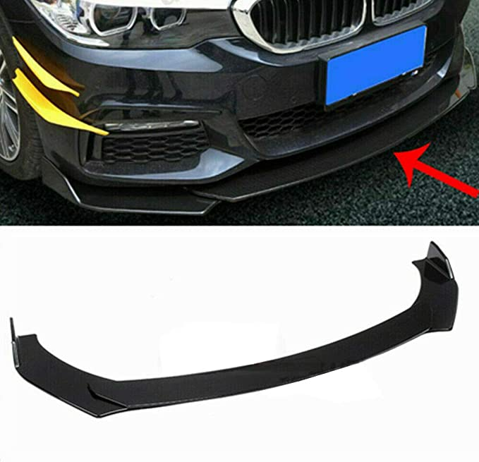 SCITOO BlackUniversal PVC Front Bumper Body Kit Spoiler Chin Spoiler Front Bumper Lip Universal Fits for Most Cars