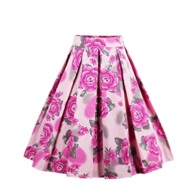 4 Color Bohemian Summer Vintage Skirt Wop Loose Woman Girls Print Retro Ball Gown Skirt Femininos