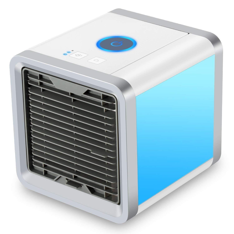 Delaman Air Cooler 7-Colors 8-Hour LED Mini USB Mobile Air Conditioners, Personal Space, Desktop Quiet Purification Refrigeration, Moist/Clean Air