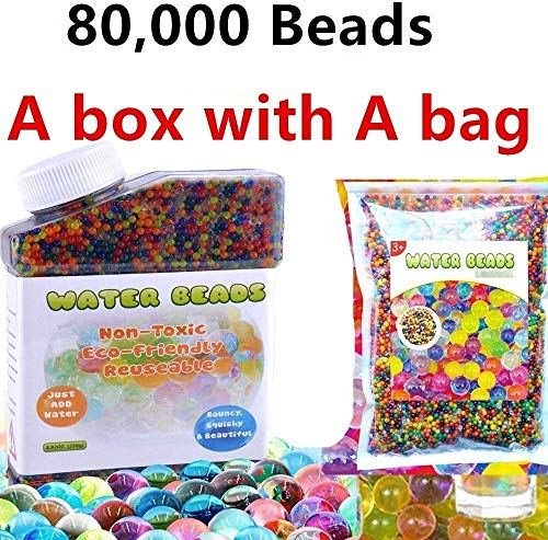 80,000 beads A box and A bag HYMONA Flash Water Beads Sooper Beads Crystal Soil Water Bead Gel For Refill, Sensory Toys, Vase Filler