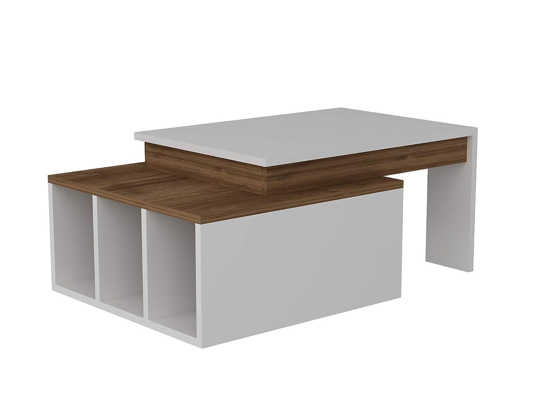Alphamoebel Couchtisch Beistelltisch Wohnzimmertisch Sofatisch Sofatisch Sofatisch Kaffeetisch, Möbelstück für Wohnzimmer I Farbeado 2657 I Weiß Walnuss I 91,8 x 50 x 37,4 cm a3dfee