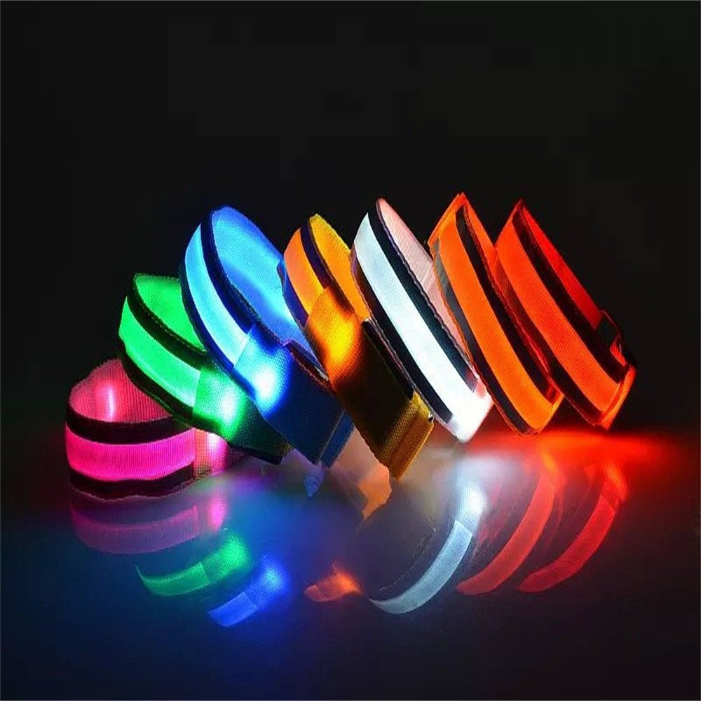 Glumes LED Armband, Glow in the Dark Led Slap Bracelets Event Wristband For Men& Women, Night Safety Lights For Running, Jogging, Cycling, Hiking (Blue)