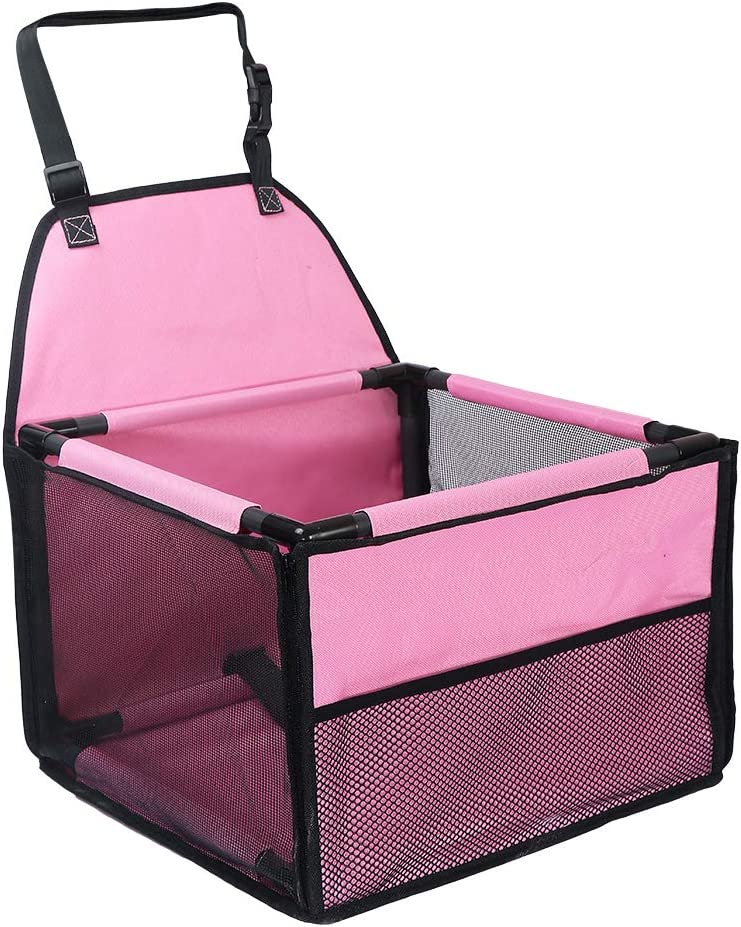 GENORTH Asiento del Coche de Seguridad para Mascotas Perro Gato Plegable Lavable Viaje Bolsas y Otra Mascota Peque?a con Cremallera Bolsillo (Rosa)