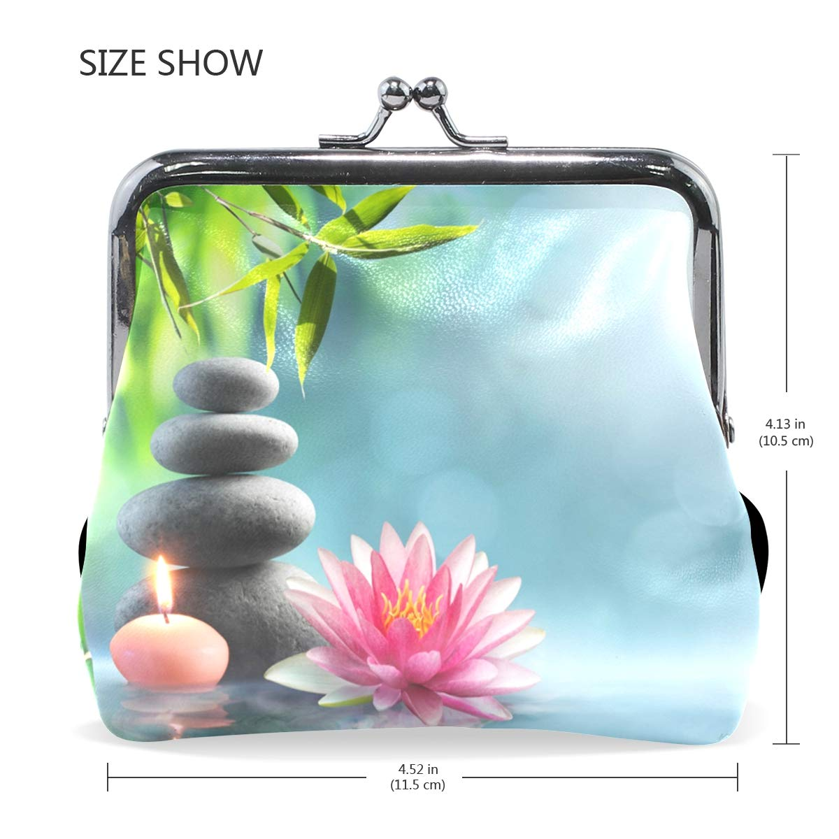 Women Wallet Purse Natural Alternative Therapy With Massage Stone Clutch Bag Leather