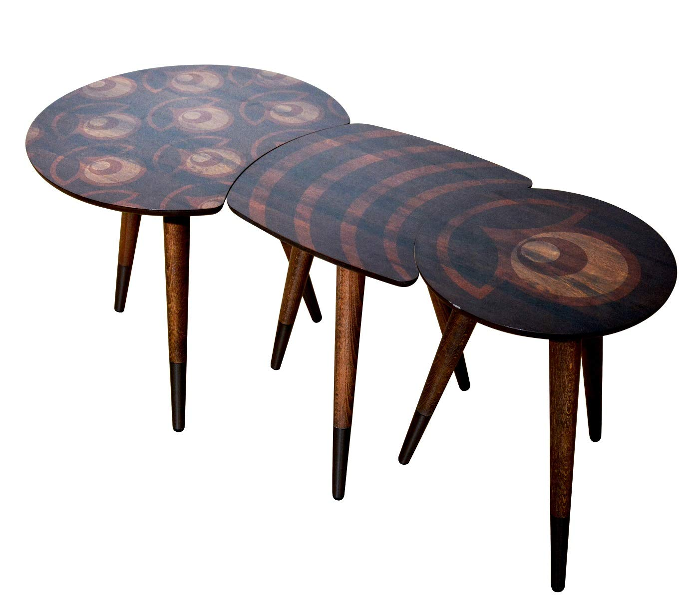 Point CasaCulina 3 Pieces Print Modern Side End Table Coffee and Cocktail Table,Nesting Table Set with Multiple Color Options