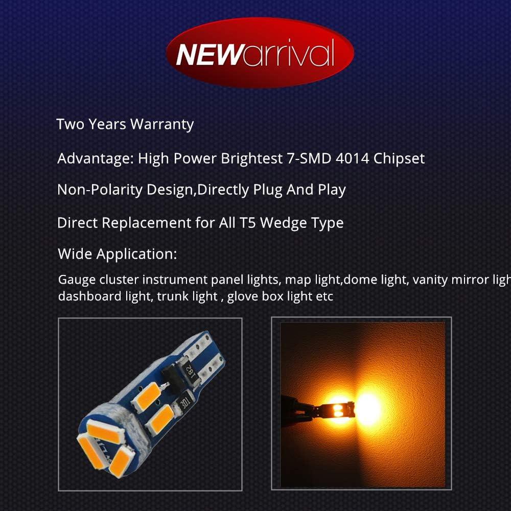 WLJH Canbus Bright PC74 Twist Lock Socket T5 2721 73 74 Led 7SMD 4014 Chip Car Instrument Cluster Gauge Dash Dashboard Indicator Panel Lights Lamp Light Bulb Kits 12V Ice Blue 20 Pack