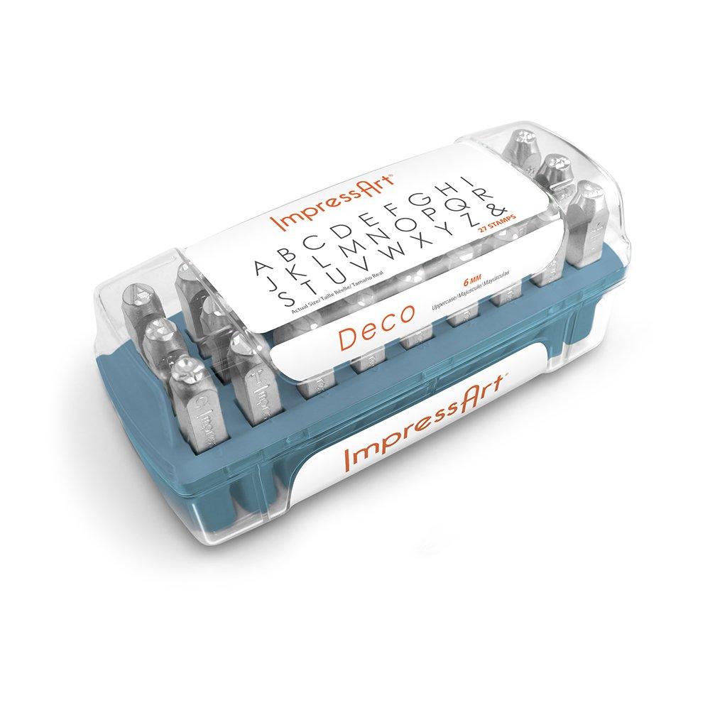 ImpressArt Deco Uppercase Letter Metal Stamps Set, 6mm