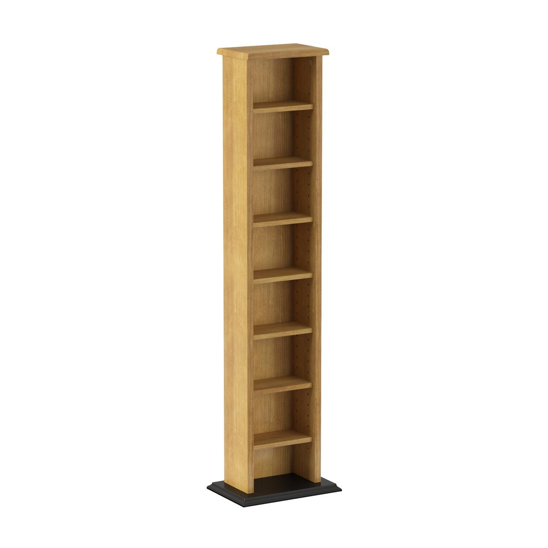 Prepac Oak & Black Slim Multimedia Storage Tower