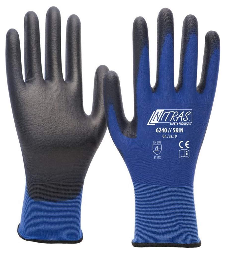 Taglia 8 3x Paia Guanti da Lavoro Protezione Meccanica con Flessibilit/à e Antiscivolo M Nitras 6240 Skin Nylon