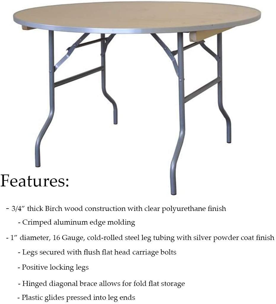 - Amazon.com: 4' Foot Diameter Round Solid Birch Wood Folding Table