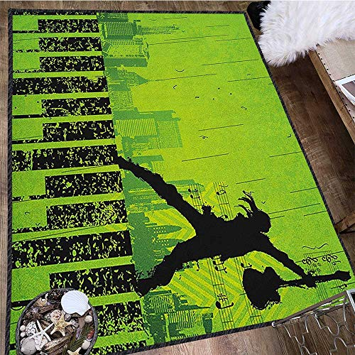 Popstar Party Modern Area Rug with Non-Skid,Music in The City Theme Singer with Electric Guitar on Grunge Backdrop Durable and Resistant to Soiling Lime Green Black 63