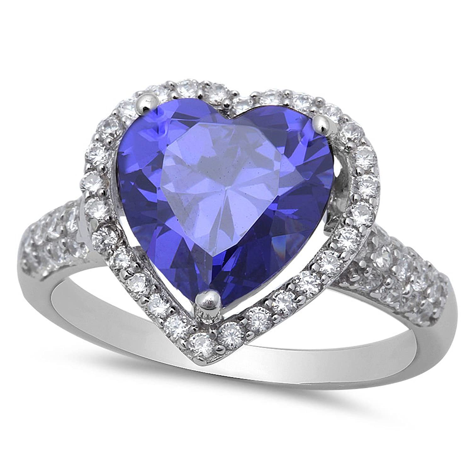 Simulated Simulated Tanzanite & Cubic Zirconia Heart Shaped .925 Sterling Silver Ring Sizes 5-10