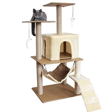 BYFWA Compacto Árbol para Gatos Rascador con Nido ...