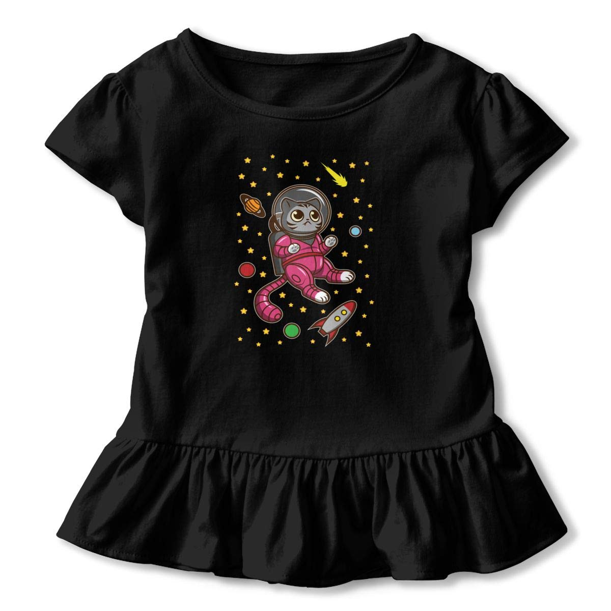 Cat in Space2-6t Flounce Girls Short Sleeve Printed T-shirtame