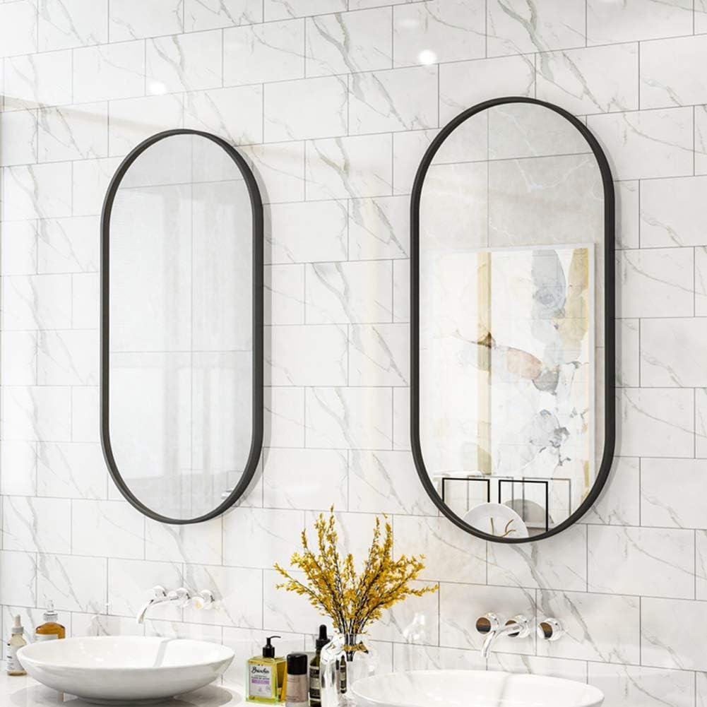 Miroir de Salle de Bains Ovale Noir//Or Miroir de courtoisie en Miroir avec Cadre en m/étal Suspension Verticale ou Horizontale