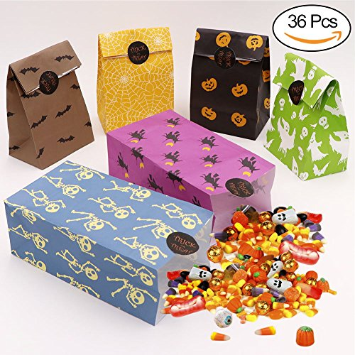 OurWarm 36pcs Halloween Party Treat Bags Halloween Paper Trick or Treat Bags with Sticker for Kids Birthday Halloween Party (Diy Halloween Treats For Kids)