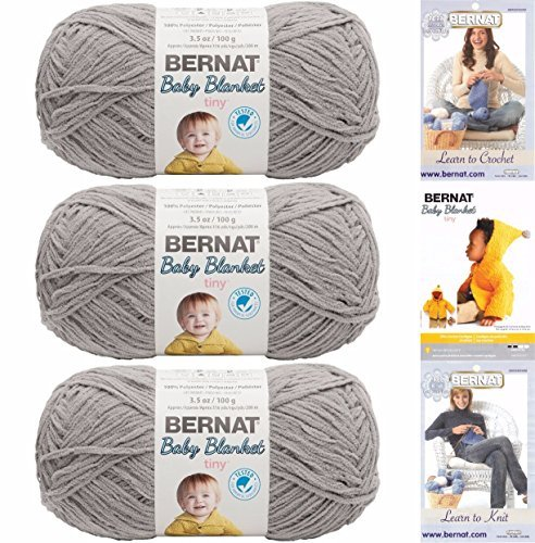 Bernat Baby Blanket Tiny 3 Pack 100 Percent Polyester Gauge Medium 4 Worsted Bundle (Gray Owl)