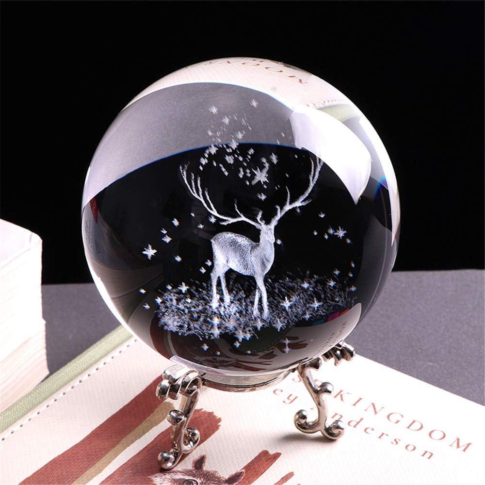 3D Crystal Wapiti Ball Figurine Feng Shui Office Decorative Storm Glass Ball Balls Ornaments Animal Wapiti Statue Craft (60mm)