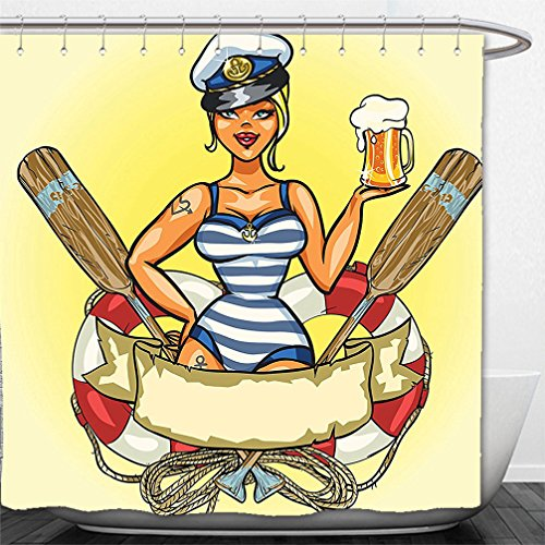 Toddler Sailor Costume Pattern (Interestlee Shower Curtain Girly Decor Pin-Up Sexy Sailor Girl in Lifebuoy with Captain Hat and Costume Glass of Beer Feminine Design Multi)