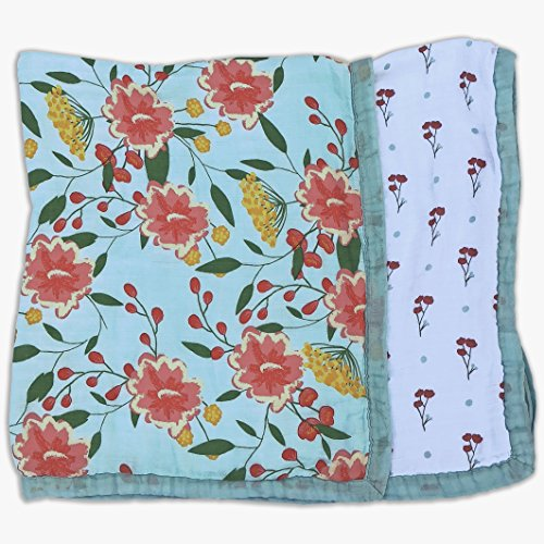 Baby & Toddler Blanket - Boy & Girl. Muslin Cotton Bamboo. Large, Soft & Warm, Breathable & Lightweight. Cozy Dream & Snuggle Blanket. Preschool Nap Security Crib & Bed Blanket (Pink Floral)