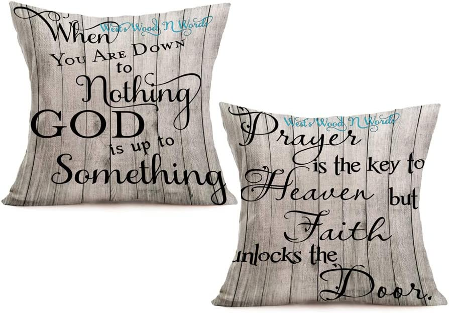 Wood Signs with Sayings Pillow Covers Home Decor 2 Pack Cotton Linen Inspirational Words Throw Pillow Cases Cushion for Couch/Sofa/Bedroom/Car 18 x 18 inches Pillowslip (God Faith)