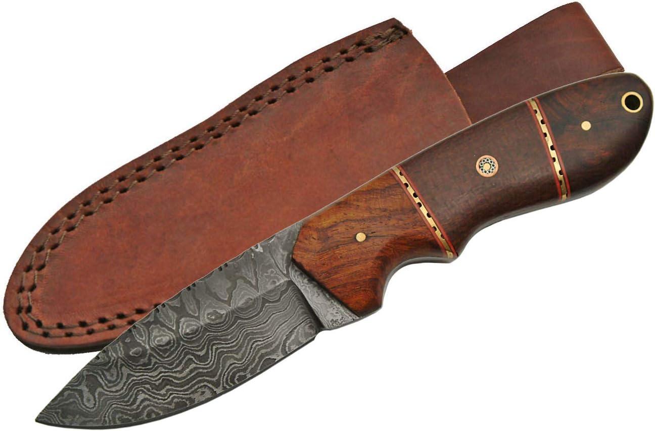 SZCO Supplies Damascus Steel Rosewood Micarta Handle Hunting Knife