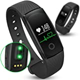 New-Silk Road HR Fitness Tracker with Heart Rate Monitor + Sleep Monitor + Pedometer, Waterproof Activity Fit Watch with Touch Screen, Bluetooth Sync Smart Bracelet for iPhone Samsung LG Nexus Sony HTC Oneplus, Sports Exercise Workout smartband Black
