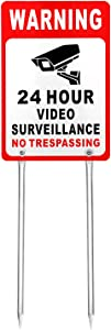 "Kichwit Video Surveillance Sign No Trespassing Reflective Metal Sign, Double Sided Aluminum Yard Sign with Stakes Included, Measures 11.8"" x 7.9"""