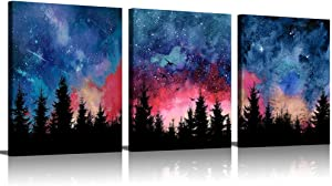 3 Piece Canvas Wall Art For Living Room Wall Decor Bedroom Wall Art Forest Tree Nature Wall Art Navy Blue Decor Colorful Wall Art Paintings For Bedroom Wall Pictures Aesthetic Room Decor 3 Panel Art
