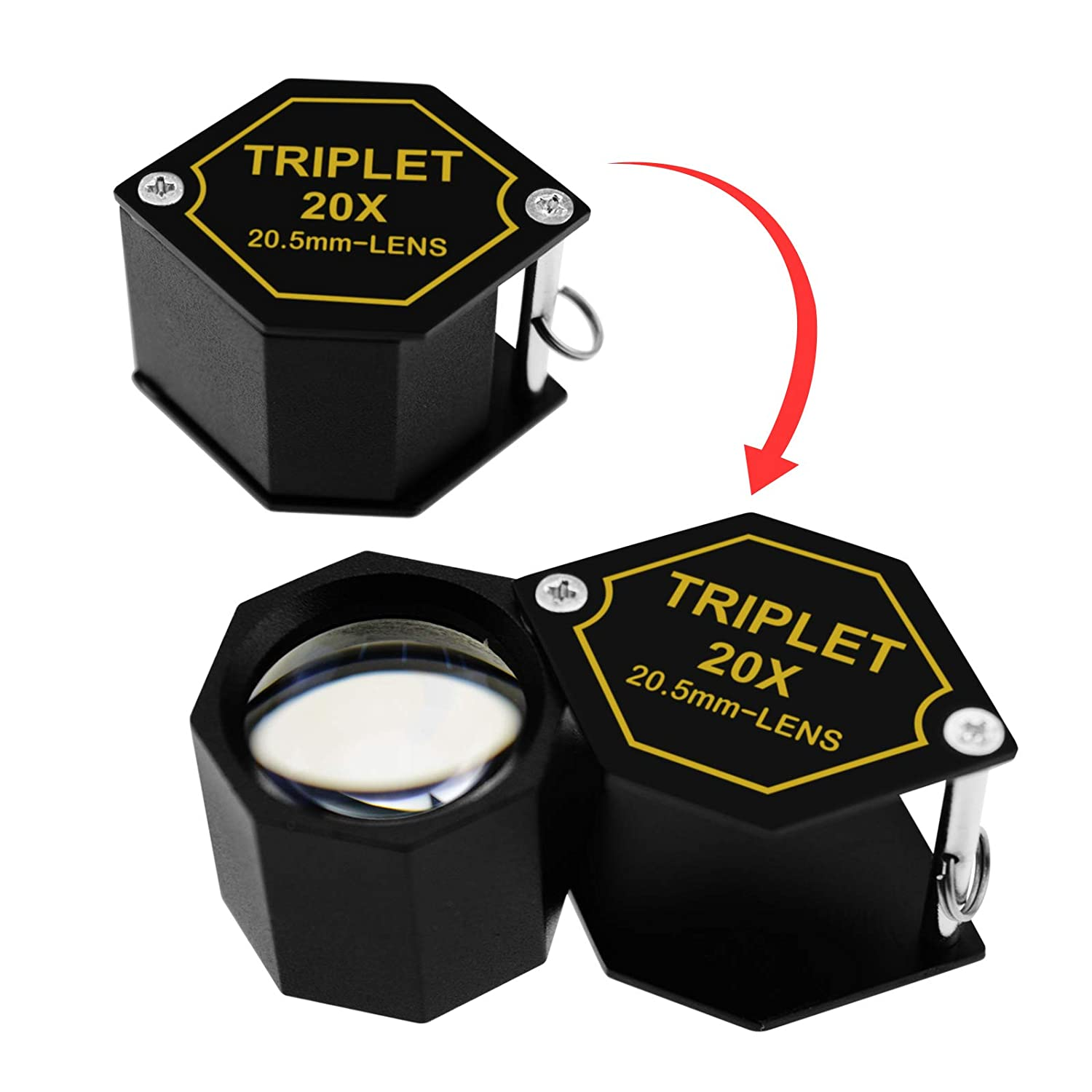 Gain Express 20x Magnifications 20.5mm Jeweler Gem Loupe Triplet Lens Magnifier Jewelry Optical Glass Great Professional Hobbyist Stamp /& Coin Mechanics Machinists