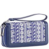 XeYOU Womens Double Zipper Long Clutch Wallet Card Holder Purse with Coin Pocket for Cash, Coin and 5.5 inch Smart Phone (Elephant Canvas With Wristlet STRAP)