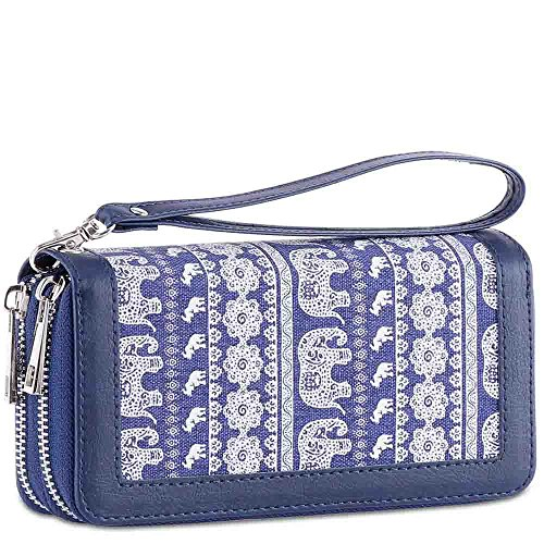 XeYOU Womens Double Zipper Long Clutch Wallet Card Holder Purse with Coin Pocket for Cash, Coin and 5.5 inch Smart Phone (Elephant Canvas With Wristlet STRAP) by XeYOU